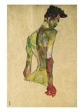 Manlig nakenmodell i profil mot höger Gicléetryck av Egon Schiele