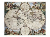 Map of the World Giclee Print by Frederick de Wit
