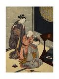 Night Rain on the Daisu Giclee Print by Harunobu Harunobu
