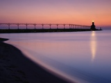Michigan City Lighthouse at Sunset Photographic Print by Richard Cummins