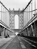 Tour et chaussée du pont de Manhattan Reproduction photographique