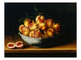 Peaches in a Wanli Kraak Porselein Bowl on a Ledge Giclee Print by Louise Moillon
