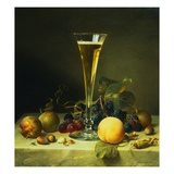 Painting of a Glass of Champagne, a Peach, Plums and a Bunch of Grapes on a Marble Ledge by Johann  Giclee Print