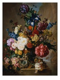 Poppies, Peonies and Other Assorted Flowers in a Terracotta Vase on a Stone Plinth with a Bird&#39;s Ne Reproduction proc&#233;d&#233; gicl&#233;e par Jan van Os