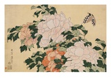 Pink and Red Peonies Blown to the Left in a Breeze and a Butterfly Giclee Print by Hokusai