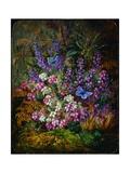 Painting of Blue Butterflies and Wildflowers Giclee Print by Albert Durer Lucas