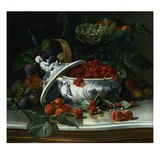 Plums, Grapes and Raspberries in a Porcelain Tureen Giclee Print by Sophus Pedersen