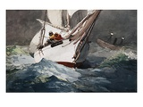 Reefing Sails Around Diamond Shoals, Cape Hatteras by Winslow Homer Giclee Print by Geoffrey Clements