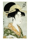 Portrait of the Courtesan Hanaogi of the Ogiya, Wearing an Over-Kimono Giclee Print by  Utamaro