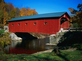 Red Covered Bridge on Rural Road Photographic Print by Robert Glusic