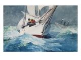 Equipaggio terzarola le vele nei pressi di Diamond Shoals, Cape Hatteras Stampa giclée di Winslow Homer