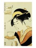Porträt der Teehausbedienung Naniwaya Okita, die eine Tasse Tee auf einem Tablett serviert Giclée-Druck von  Utamaro
