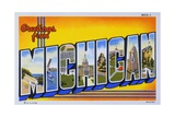 Postcard of Greetings from Michigan Giclee Print