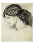 Portrait Sketch of a Ladies Head by Dante Gabriel Rossetti Giclee Print by Stapleton Collection