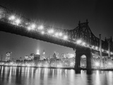 Queensboro Bridge and Manhattan at Night Photographic Print by Bettmann