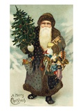 Postcard of Santa Claus with Toys Giclee Print by  Lake County Museum
