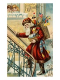 Postcard of Santa Claus Carrying Toys Giclee Print by Lake County Museum