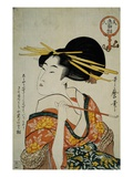 Portrait of a Courtesan Smoking Her Pipe Giclee Print by  Utamaro