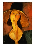Portrait of Jeanne Hebuterne in a Large Hat Reproduction procédé giclée par Amedeo Modigliani
