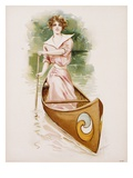 Poster Depicting a Woman Canoeing by Maud Stumm Giclee Print