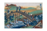Print Depicting Travelers on a Bridge from Series the One Hundred Poems as Told by the Nurse Giclée-Druck von Katsushika Hokusai