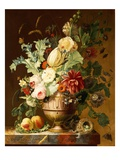 Roses, a Tulip, a Peony, Marigolds, Hollyhocks Giclee Print by Johannes Hendrik Fredriks