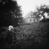Scarecrows in a Small Vegetable Garden Photographic Print by Annette Fournet