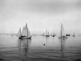 Sailboats Waiting to Race Fotografie-Druck von Ray Krantz