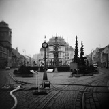 Scaffolding Around a Fountain in a Public Square Photographic Print by Annette Fournet