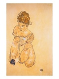 Seated Girl in Slip Giclee Print by Egone Schiele
