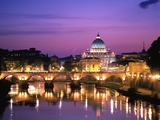 Sant'Angelo Bridge over Tiber River Fotoprint van Dennis Degnan