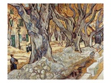 Road Menders in a Lane With Heavy Plane Trees Giclee Print by Vincent van Gogh