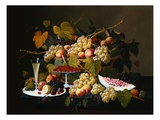 Stillleben mit Obst und Champagner Gicl&#233;e-Druck von Severin Roesen