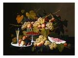 Still Life with Fruit and Champagne Lámina giclée por Roesen, Severin