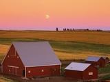 Sun Setting Behind Barns Photographic Print by Darrell Gulin