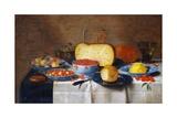 Stillleben mit Obst, Brot und Käse Giclée-Druck von Floris van Schooten
