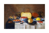 Still Life with Fruit, Bread and Cheese Giclee Print by Floris van Schooten