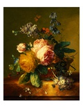 Still Life with a Bouquet of Roses and Other Flowers by Jan van Huysum Giclee Print