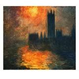 El Parlamento: puesta de sol Lámina giclée por Claude Monet