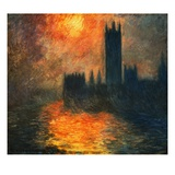 The Parliament, Sunset Giclee Print by Claude Monet