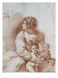 The Madonna and Child with an Escaped Goldfinch Lámina giclée por Guercino (Giovanni Francesco Barbieri)