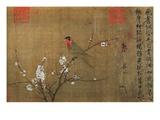 Perroquet aux cinq couleurs sur une branche en fleurs Reproduction procédé giclée par Emperor Hui-tsung