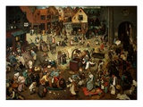 The Battle Between Carnival and Lent Gicleetryck av Pieter Bruegel the Elder