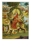 The Goddess Durga Color Lithograph Reproduction procédé giclée par Bettmann