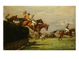 The Grand National Steeplechase: Really True and Forbia at Beecher&#39;s Brook Giclee Print by John Sanderson-Wells