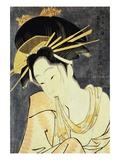 The Courtesan Kashiku of the Tsuruya Holding in Her Teeth an End of Cloth Draped Around Her Bare Sh Giclee Print by Eiri