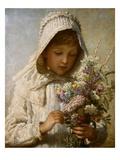 Der Monat September: Junges Mädchen in Weiß und mit Blumenstrauß Giclée-Druck von Carl Wilhelm Friedrich Bauerle