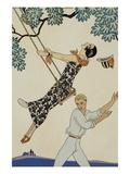 El columpio, Fragonard Lámina giclée por Barbier, Georges