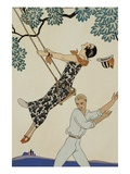 The Swing Premium Giclee Print by Georges Barbier