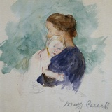 Watercolor of Mother and Child by Mary Cassatt Giclee Print by Geoffrey Clements
